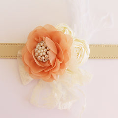 Peach Flower dog collar, Handmade pearl beaded feather flower leather collar, Dog of honor proposal, S to XXL collar