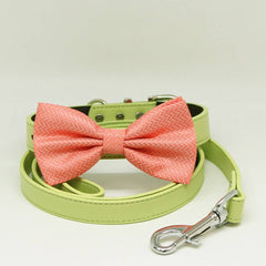 Peach Dog Bow Tie collar Leash, Green Leash, Handmade Gifts, Puppy Love