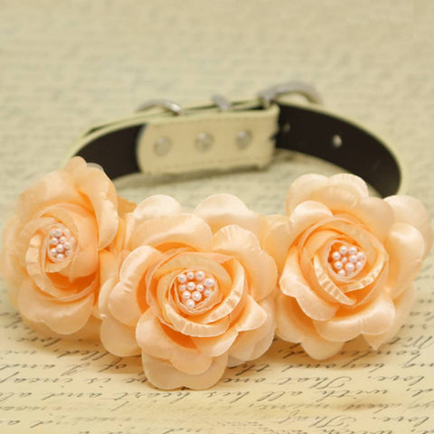 Peach Floral Wedding Dog Collar, Pet Accessory, Rose Flowers with Pearls , Wedding dog collar