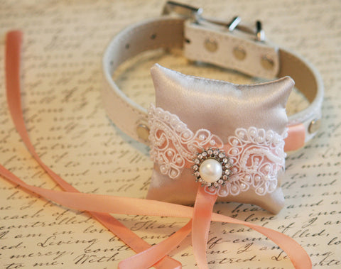 Ivory Peach Ring Pillow, Ring Pillow attach to Leather Collar, Ring Bearer Pillow, Pet wedding Accessory, Bohemian Weddings