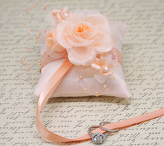 Peach Ring Pillow attach to Dog Collar, Ring Bearer Pillow, Pet wedding Accessory, Peach wedding