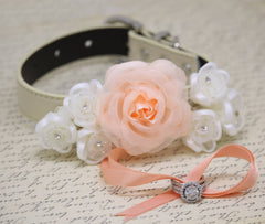 Peach wedding Dog Ring Bearer Collar, Peach White wedding, Floral wedding, Peach Wedding