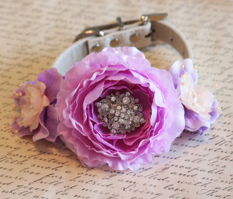 Peach and Lavender wedding Floral Dog Collar, Peach and Lavender accessory , Wedding dog collar