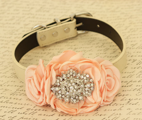 Peach Flower dog collar, Pet wedding, Dog birthday, Dog lovers
