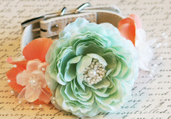 Peach and Mint Floral Dog Collar, Pet Wedding Accessory, Spring wedding, Floral Collar, Peach and Mint Wedding idea, Dog Lovers - LA Dog Store  - 1