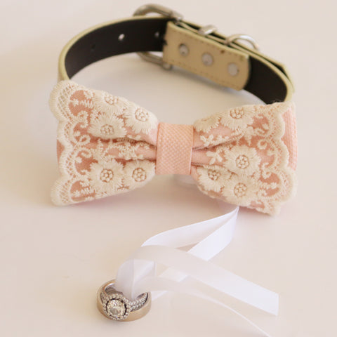 Handmade Pearl blush bow tie collar Leather collar dog of honor ring bearer adjustable handmade M to XXL collar bow, Puppy, Proposal