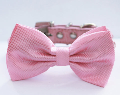 Pink Dog Bow tie, Chic and Elegant, Love Pink- with high quality leather collar , Wedding dog collar