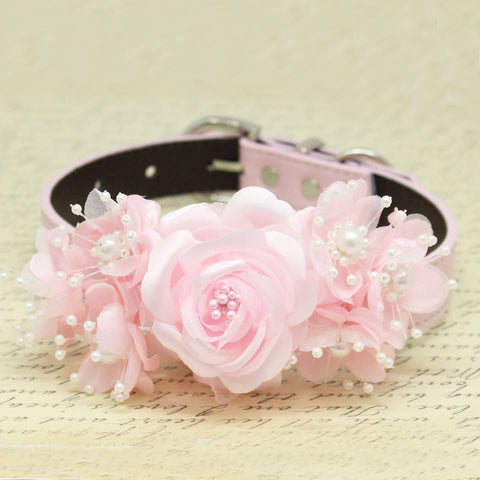 Pink Floral wedding dog collar, handmade Pink flower with Peals, Wedding pets accessory, love pink , Wedding dog collar