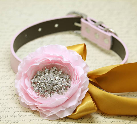 Peonies Floral Pink Gold Wedding Dog Collar Rhinestone, Floral Pink, Beach Pet Wedding