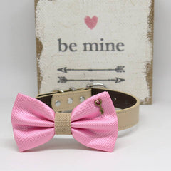 Pink and Burlap Dog Bow tie Collar, Charm (Key to my Heart), Valentine's Day, Pet wedding