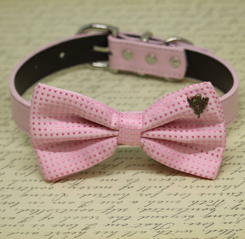 Pink Dog Bow Tie Collar, Pet Birthday, I Love Jesus, Christian Charm, polka dots wedding