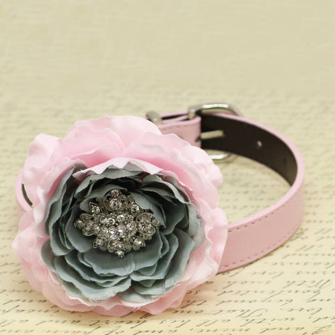 Flower Handmade Dog Collar, Pink and Gray, Beaded Dog Collar, Wedding Pet accessory, Puppy Love, Peony