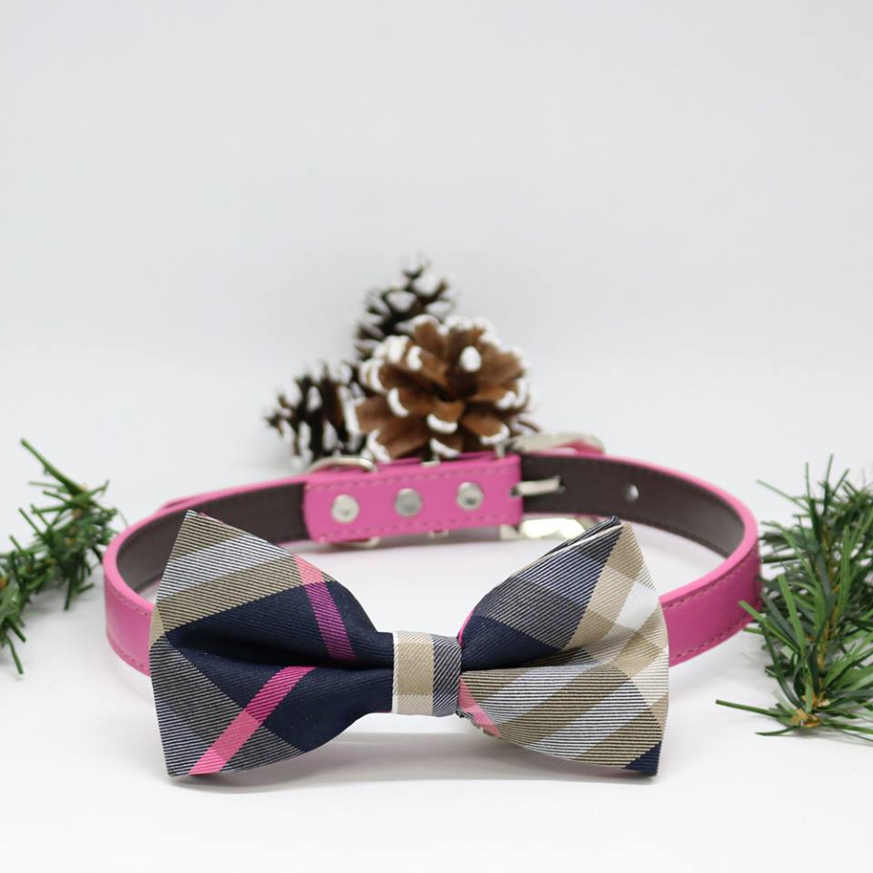 Plaid Pink Dog Bow Tie Collar Puppy Gifts Dogs Birthday Gift Pet Wedding