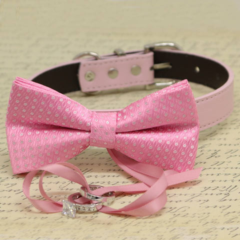 Pink Polka Dots Dog Bow Tie Collar, Ring Bearer, Pet Wedding, Proposal, Will you Marry me? , Wedding dog collar