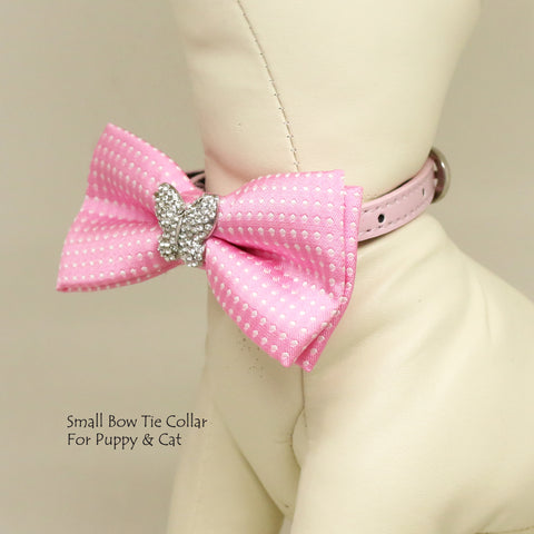 Pink Polka dots Butterfly bow, Small bow tie collar, Puppy Collar,Cat collar, Cat bow tie collar
