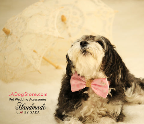 Pink Polka dots Bow Tie attached to collar, Charm, Burlap, Dog Birthday gift