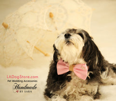 Pink Dog Bow Tie, Bow attached to dog collar, Pet Wedding accessory, Charm, Heart, Burlap, Pink, Polka dots, Dog collar, Dog Birthday gift - LA Dog Store  - 1
