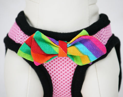 Pink Dog Harness with colorful bow and a black leash, colorful bow tie