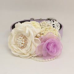 Patience Ivory Lavender Flower dog collar, Pet wedding accessory, Pearls Rhinestone, Beaded, beaded collar, Handmade Flower,Dog Jewelry Flower