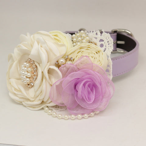 Patience Ivory Lavender Flower dog collar, Pet wedding accessory, Pearls Rhinestone , Wedding dog collar