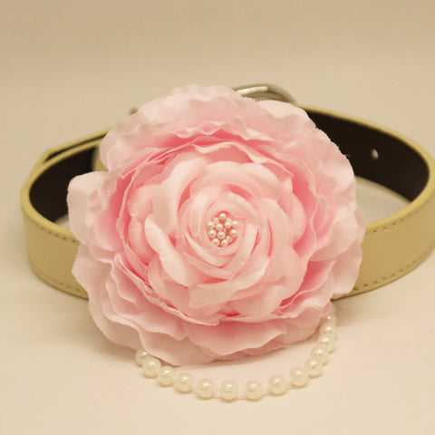 Pink Flora dog collar, Pink Rose, Flower and pearl,  Puppy Gift