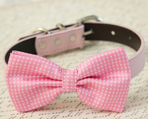 Soft Pink Dog Bow Tie Collar - Dog accessory- Leather dog collar