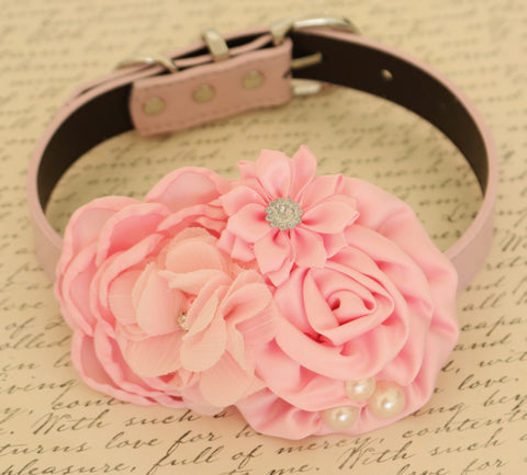 Pink Floral dog collar, Pink wedding, Flowers, Pearl