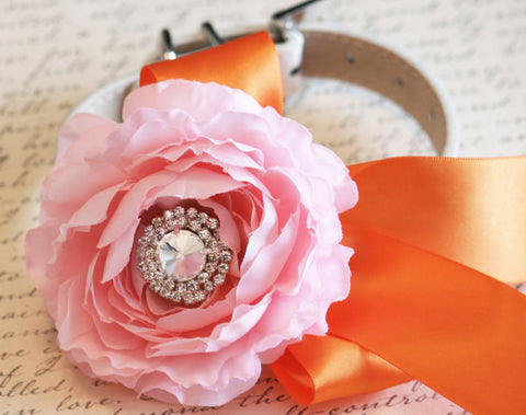 Peony Pink and Orange Floral Dog Collar, Pet Wedding Accessory, Color of the year