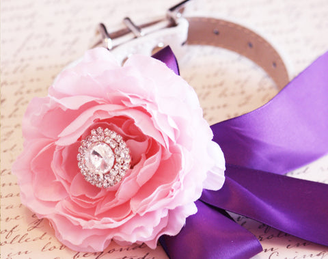 Pink Peonies and Purple Floral Dog Collar, Wedding Accessory, flower and Rhinestone