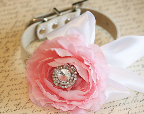 Pink Peony and White Floral Dog Collar, Pet Wedding