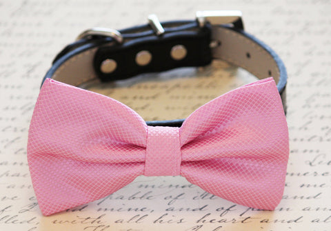 Pink Dog Bow tie with Leather Collar, Wedding dog accessory, Dog Bow Tie