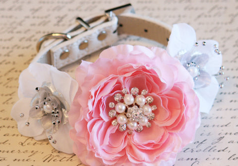 Pink Peonies, white and silver Floral Dog Collar Wedding, Floral, Pearls and Rhinestones, handmade , Wedding dog collar