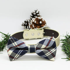 Plaid Burly wood dog bow tie Collar, Wedding lovers, dog birthday gift, Christmas Pet accessory
