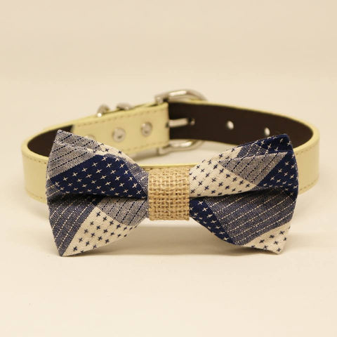 Plaid Blue Dog Bow tie collar, Rustic Pet wedding, Burlap , Wedding dog collar