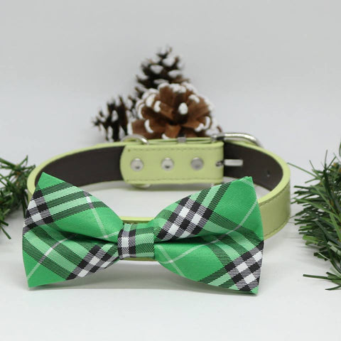 Plaid Burly wood Green Dog Bow Tie collar, Christmas Gifts, Green Dog birthday, Wedding accessory , Wedding dog collar