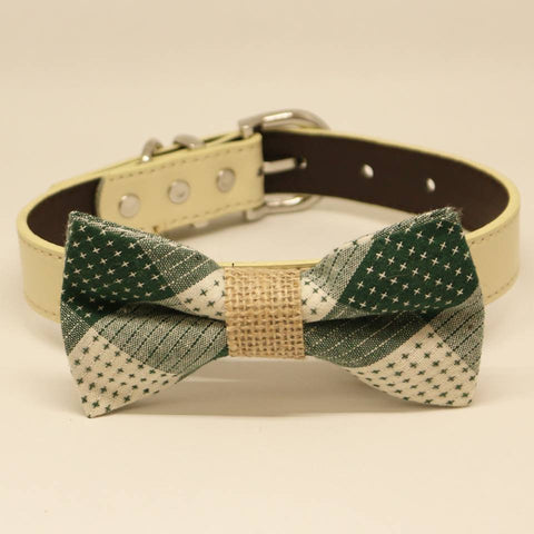 Plaid Dog Bow tie collar, Green, Rustic, Pet wedding accessory, Burlap , Wedding dog collar
