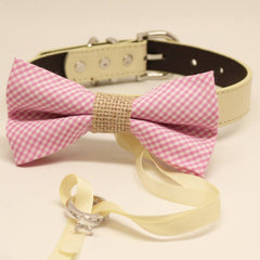 Pink Plaid Burlap Dog Bow Tie Ring Bearer Collar, Pet Wedding accessory, Proposal, Chic