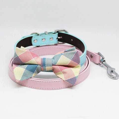 Plaid Pink Blue Bow tie Collar Pink Leash, Handmade, Puppy Gift, Dogs wedding, Pet accessory , Wedding dog collar
