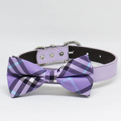 Lavender Dog Bow Tie, Pet plaid Wedding, Dog Lovers