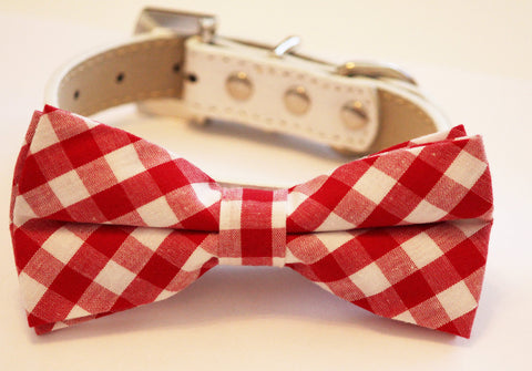 Red wedding Dog Bow tie with Collar, Cute Bow tie, Wedding dog