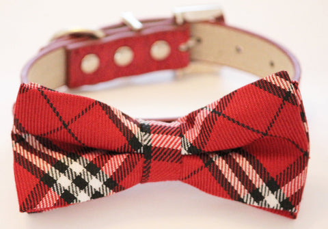 Plaid red and white wedding Dog Bow tie with collar, Chic and Elegant wedding