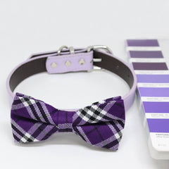 Plaid Ultra Violet bow tie Dog collar, Color of the 2018 PANTONE 18-3838, Pet wedding, Gifts