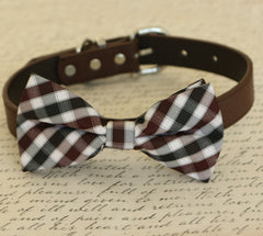 Plaid Brown dog bow tie, Bow attached to dog collar, Pet wedding accessory, dog birthday gift, dog collar, Black and Brown, Plaid bow - LA Dog Store  - 1