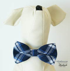 Plaid Navy dog bow tie attached to collar, Puppy, Cat, birthday gift, Plaid wedding
