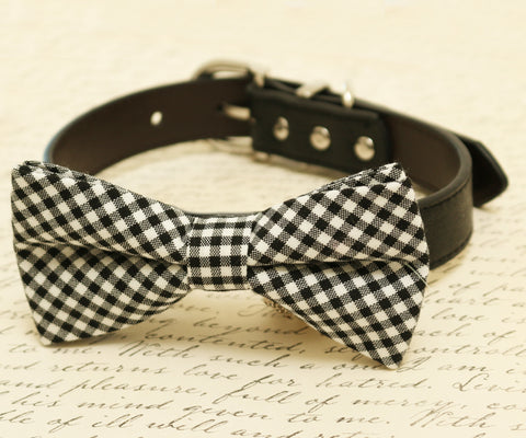 Black dog Bow tie attached to collar, Pet wedding, Plaid black bow tie