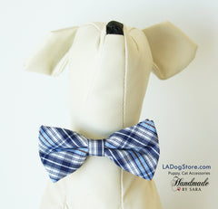 Plaid dog bow tie attached to collar, Puppy, Cat, birthday gift, Blue plaid wedding