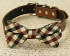 Plaid dog bow tie collar, Black, Brown and Ivory bow, Dog collar