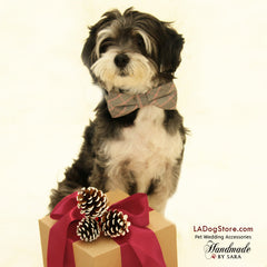 Plaid dog Bow Tie attached to dog collar, Pet accessory, Black, white and red