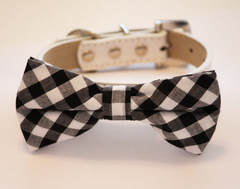 Plaid Black Dog Bow tie with Collar, pet wedding accessory, plaid wedding ideas , Wedding dog collar