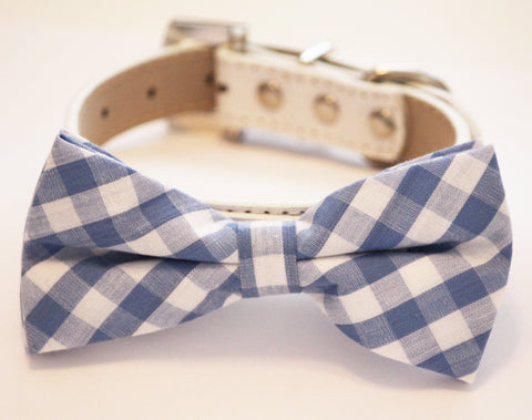 Plaid Blue Dog Bow tie with Collar, Cute Dog Bow tie, Something blue